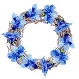 Blue phacelia flower. Green leaf wildflower. Watercolor background illustration set. Frame floral wreath. Blue phacelia. Floral botanical flower. Green leaf royalty free illustration