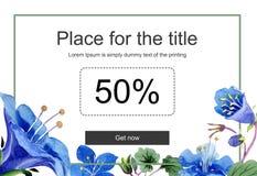 Blue phacelia flower. Watercolor background illustration set. Watercolour drawing aquarelle isolated. Sale banner. Blue phacelia flower promo sale banner stock illustration