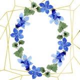 Blue phacelia flower. Watercolor background illustration set. Frame floral wreath. Geometric crystal stone polyhedron. Blue phacelia. Floral botanical flower vector illustration