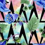 Blue phacelia flower. Watercolor illustration set. Seamless background pattern. Fabric wallpaper print texture. Blue phacelia. Floral botanical flower. Green stock illustration