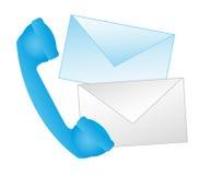 Blue phone. With envelope cartoons vector illustration stock illustration