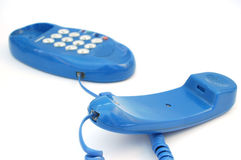 Blue phone #4. On white background royalty free stock photos