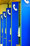 Blue phone booths Royalty Free Stock Photography