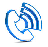 Blue phone button icon Stock Images