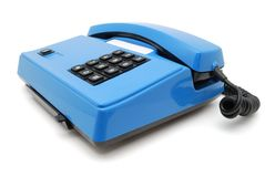 Blue phone with buttons. Blue phone with black buttons on a white background Royalty Free Stock Photo