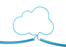Blue Phone Cable With Blue Speech Cloud Isolated on White background Royalty Free Stock Image