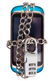 Blue phone chained and closed by combination lock Stock Image
