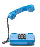Blue phone with handset in air and shadow on a white background Royalty Free Stock Images