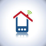Blue phone house logo. Telecommunication with cell phones and phone house logo Stock Photos