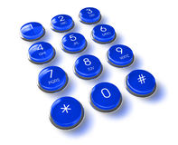 Blue phone keyboard Stock Photography