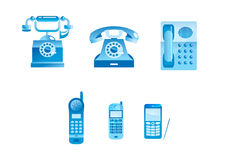 Blue phones. Set of 6 vector icons of phones web2.0 , vector illustration Royalty Free Illustration