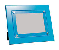 Blue photo frame isolated background. Blue photo frame rotated in a plane isolated on white background Stock Photo