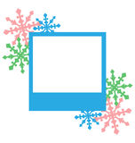 Blue photo frame with snowflakes isolated on white Royalty Free Stock Photos