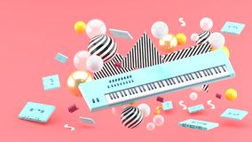 Blue piano keyboard and blue tape amidst colorful balls on a pink background.-. 3d render royalty free illustration