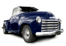 Blue pick up truck. On a white background royalty free stock photo