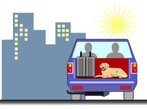 Blue pick up truck with dog Stock Image