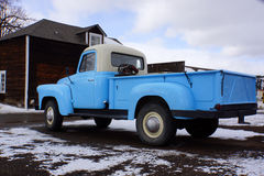 Blue pickup truck. Classic blue pickup truck parked in the Colorado mountains during winter Royalty Free Stock Photography