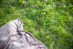 Blue picnic blanket on the grass. Field Royalty Free Stock Images