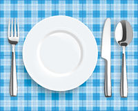 Blue Picnic Blanket Plate Spoon Knife Fork Royalty Free Stock Photography