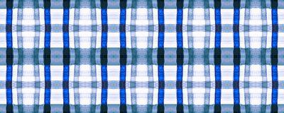 Blue Picnic Plaid. Watercolour Square Design.