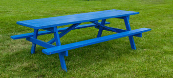 Blue Picnic Table Royalty Free Stock Photo