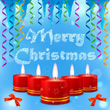 Blue picture with Christmas candles, streamers and icicles Royalty Free Stock Image