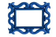 Blue Picture Frame isolated on white. Modern plastic bright Blue picture frame with antique styling isolated on white background Stock Image