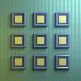 Blue picture frames. Nine blue picture frames on striped wall Stock Images