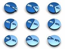 Blue Pie Charts Stock Image
