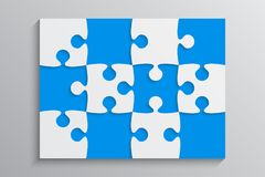 Blue Piece Puzzle Banner. 12 Step. Background. Blue Piece Puzzle Rectangle Banner. Puzzle Business Presentation. Rectangle Puzzle Infographic. 12 Step Process Royalty Free Stock Photo