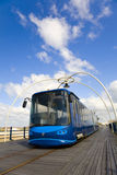 Blue Pier Tram. Blue tram on the Pier in the seaside resort of Southport Royalty Free Stock Images