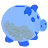 Blue piggy bank with coins Stock Images