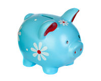 Blue piggy bank with flowers royalty free stock images