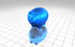 Blue piggy bank money economy concept Stock Images