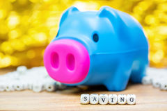 Blue piggy bank with Saving message Royalty Free Stock Photo