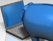 Blue piggybank with internet finance online concept Royalty Free Stock Image