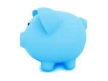 Blue piggybank from the side Stock Images