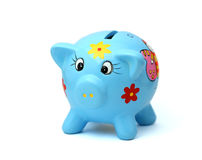 Blue pigpy bank Royalty Free Stock Image