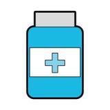 Blue pill bottle. Cartoon vector grpahic design vector illustration
