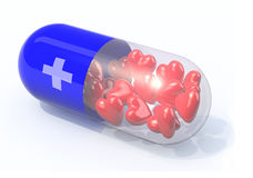 Blue pill filled with hearts. Isolated 3d illustration Royalty Free Stock Image