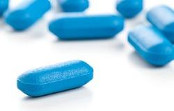 Blue pill macro Stock Image