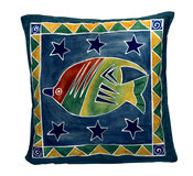 Blue pillow with fish. And stars - gift from Oceania Stock Photo