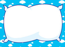 Blue Pillow Frame. Cartoon frame with pillow inset and blue cloud background Stock Photography