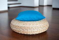 Blue pillow in interior Stock Images