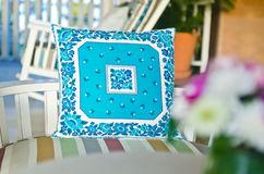 Blue pillow show texture, patter Royalty Free Stock Photo