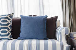 Blue pillows on sofa in living room Royalty Free Stock Image