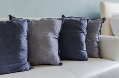 Blue pillows on sofa Stock Image