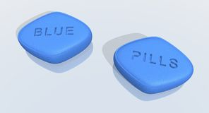 Blue pills. A 3d rendering of blue pills Royalty Free Stock Images