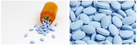 Blue pills drug bottle prescription collage stock photo
