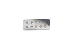 Blue pills in package Stock Photography